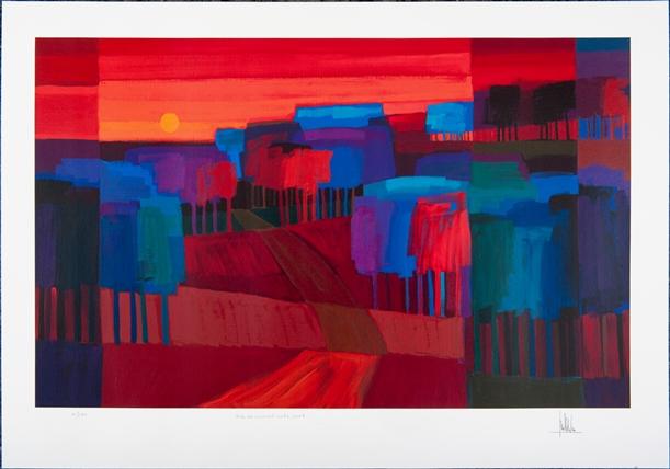 Ingelijste zeefdruk van Ton Schulten 'Als de avond valt, 2006'