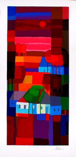 Ingelijste zeefdruk van Ton Schulten 'Avondrood, 2001'
