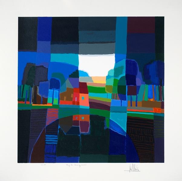 Ingelijste zeefdruk van Ton Schulten 'Bij de brug, 2000'