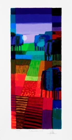 Ingelijste zeefdruk van Ton Schulten 'Bollenvelden, 2008'