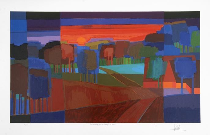 Ingelijste zeefdruk van Ton Schulten 'Branding van de herfst II, 2005'