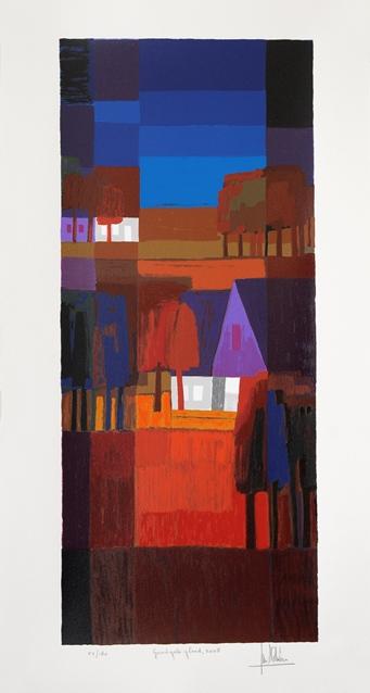 Ingelijste zeefdruk van Ton Schulten Goudgele gloed, 2008
