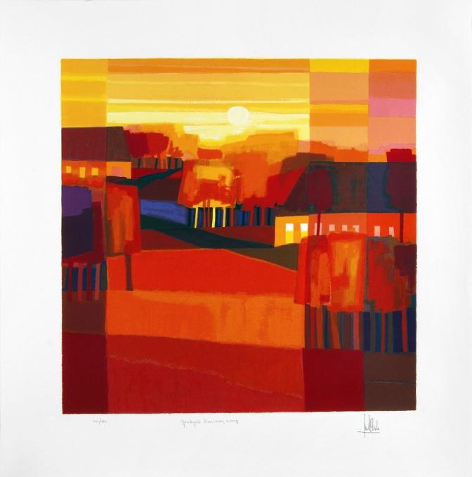 Ingelijste zeefdruk 'Goudgele horizon, 2007'