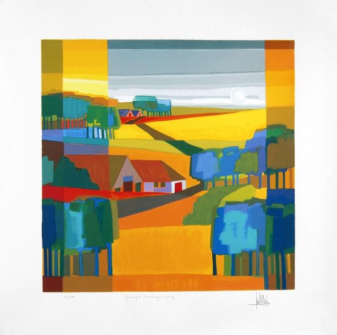 Ingelijste zeefdruk van Ton Schulten 'Goudgele landerijen, 2007'