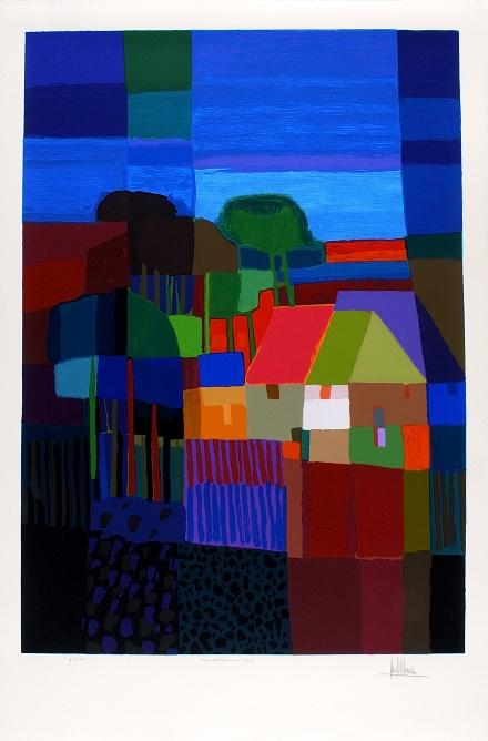 Ingelijste zeefdruk van Ton Schulten 'Hemelsblauw, 1999'