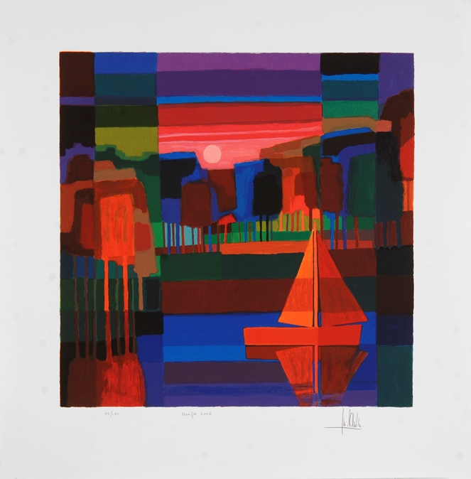 Ingelijste zeefdruk van Ton Schulten 'Lente, 2006'