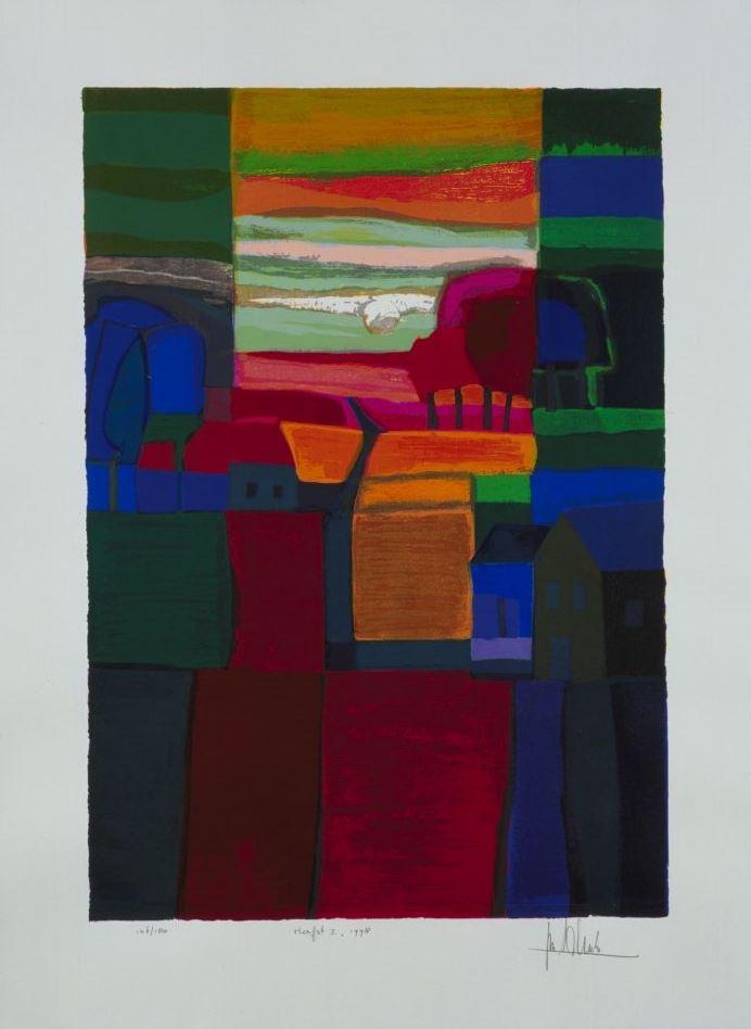 Ingelijste zeefdruk van Ton Schulten 'Herfst I, 1998'
