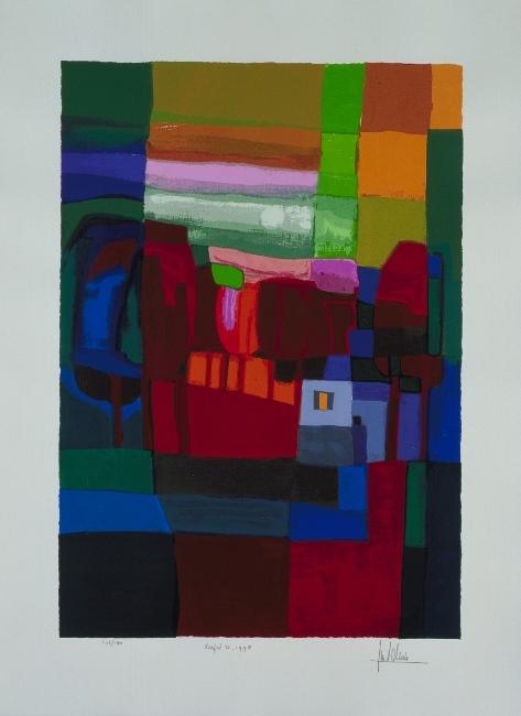Ingelijste zeefdruk van Ton Schulten 'Herfst II, 1998'
