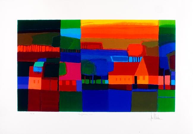 Ingelijste zeefdruk van Ton Schulten 'Herfsttooi, 2001'