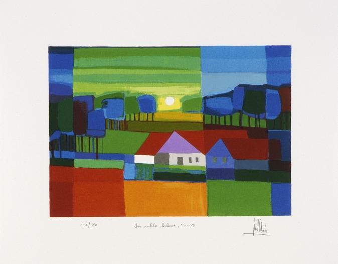 Ingelijste zeefdruk van Ton Schulten 'In volle kleur, 2003'
