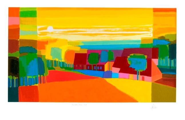 Ingelijste zeefdruk van Ton Schulten 'In volle kleur, 2005'
