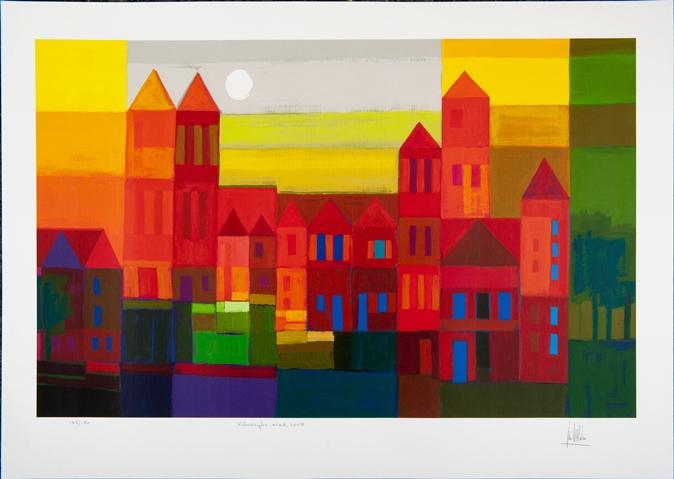 Ingelijste zeefdruk van Ton Schulten 'Kleurrijke stad, 2008'