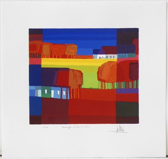 Ingelijste zeefdruk van Ton Schulten 'Kleurrijke velden I, 2004'