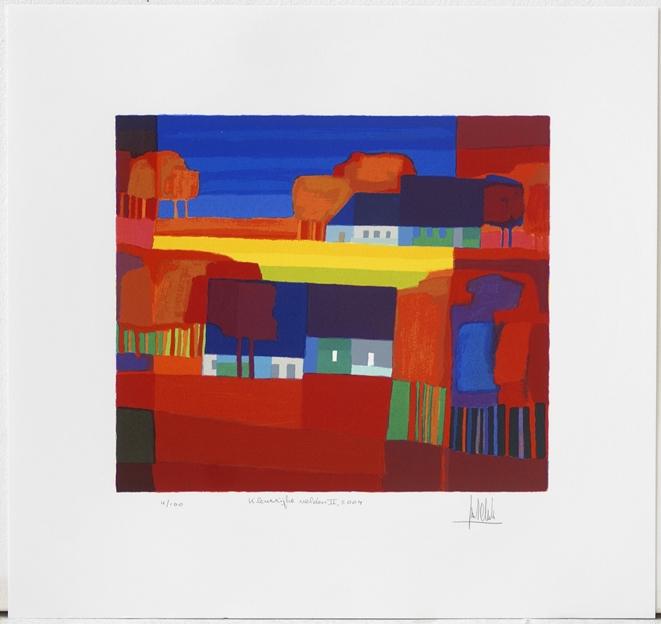 Ingelijste zeefdruk van Ton Schulten 'Kleurrijke velden II, 2004'