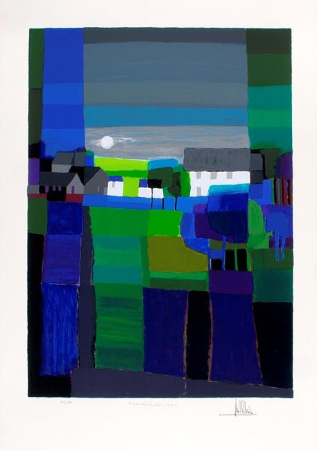 Ingelijste zeefdruk van Ton Schulten 'Noorderlicht, 2000'