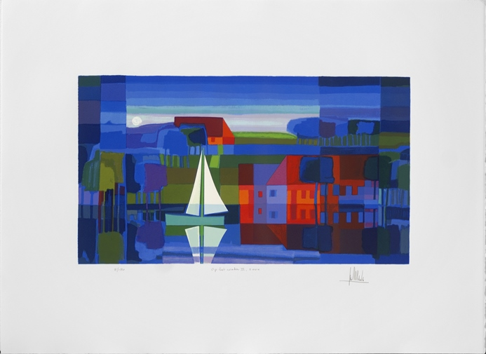 Ingelijste zeefdruk Ton Schulten 'Op het water II, 2004'