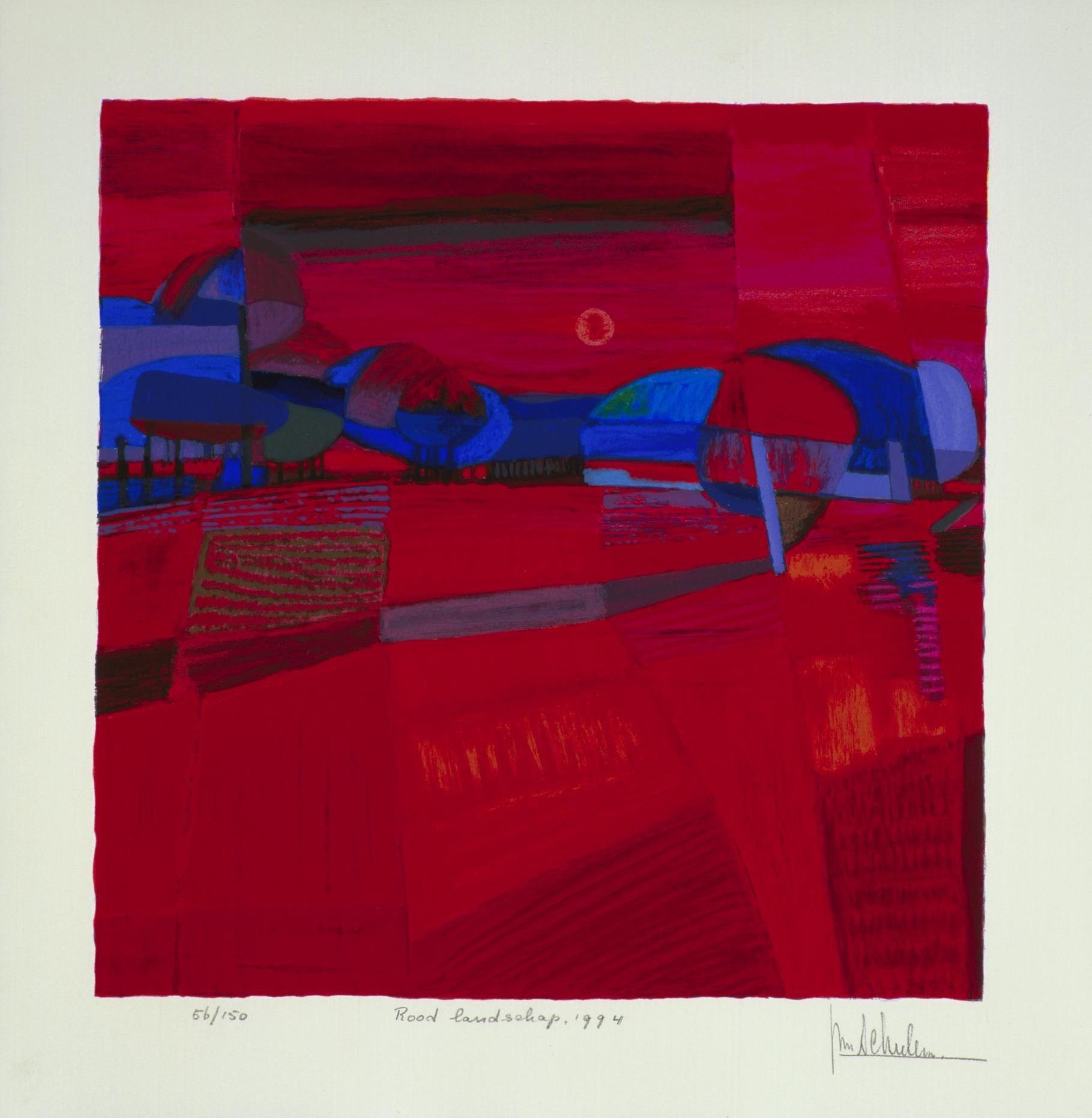 Zeefdruk van Ton Schulten 'Rood landschap, 1994'