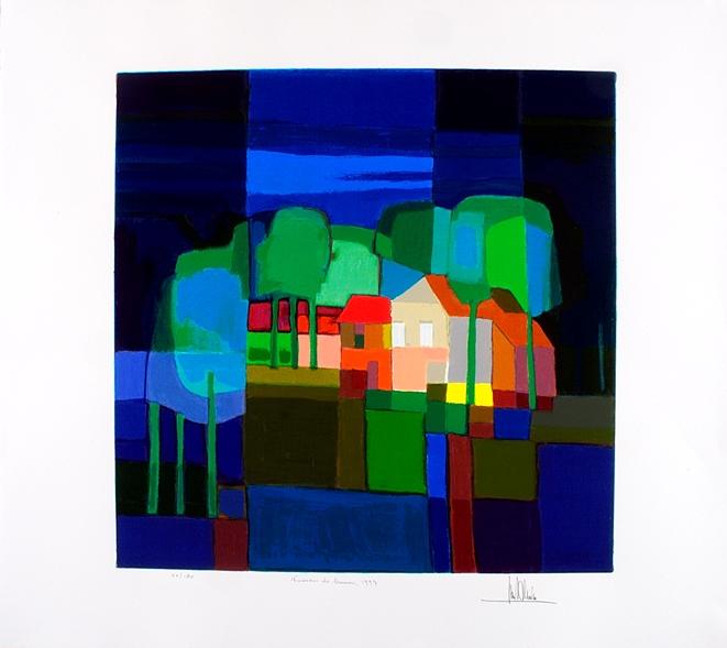Ingelijste zeefdruk van Ton Schulten 'Tussen de bomen, 1997'
