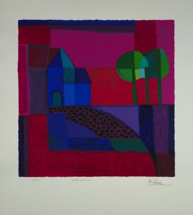 Ingelijste zeefdruk van Ton Schulten 'Veldkapel, 1993'