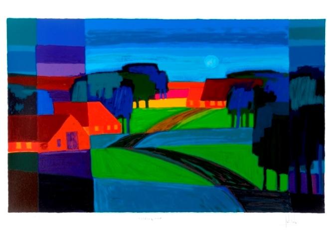 Ingelijste zeefdruk Ton Schulten 'Veldweg, 2008'