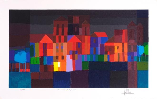 Zeefdruk 'Verlichte stad, 2002' van Ton Schulten