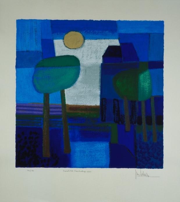 Ingelijste zeefdruk van Ton Schulten 'Verstild landschap, 1993'