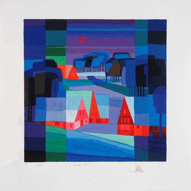 Ingelijste zeefdruk van Ton Schulten 'Winter, 2006'