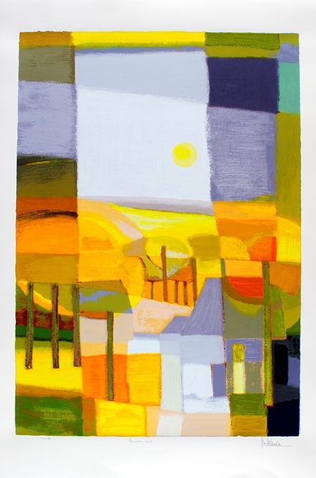 Ingelijste zeefdruk van Ton Schulten 'Zomer, 1996'