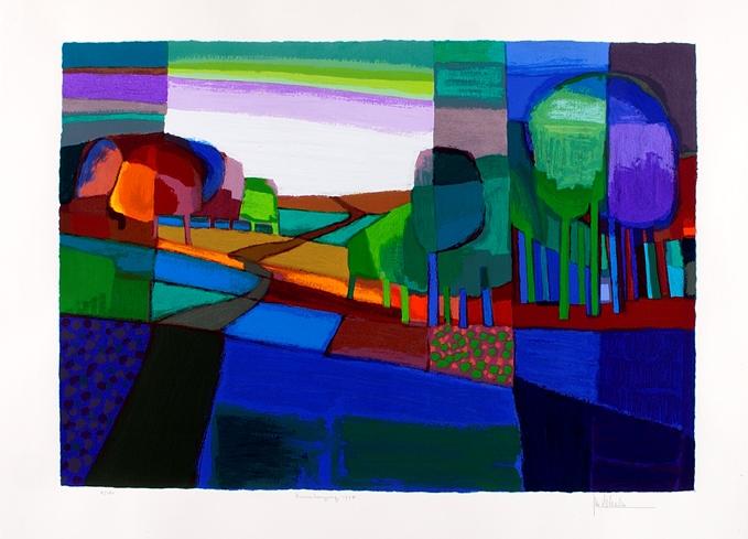 Ingelijste zeefdruk van Ton Schulten 'Zonnebergweg, 1998'